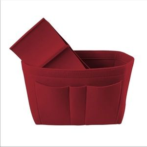 Purse organizer, size S, red felt material